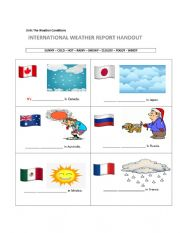 English Worksheet: International Weather Report