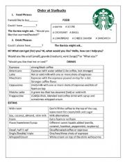 English Worksheet: Ordering at Starbucks Worksheet
