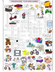 English Worksheet: TOYS AND GAMES  VOCABULARY CROSSWORD SET 3 of 3