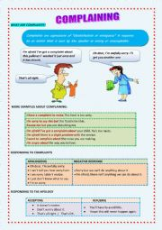 English Worksheet: WAYS OF MAKING AND RESPONDING TO COMPLAINTS