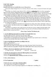 English Worksheet: first term exam for second year