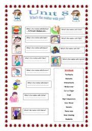 English Worksheet: ilnesses/What is the matter with you?
