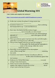 English Worksheet: Global Warming Listening and Writing