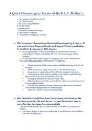 English Worksheet: methods of teaching