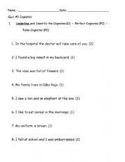 English Worksheet: Cognates (English - Spanish)