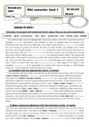 English Worksheet: mid term test 1