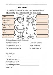 English Worksheet:  Who are you? Introduction What´s your name? Where do you live? Where are you from?