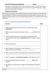 English Worksheet: Listening task - Australian Gold Rush