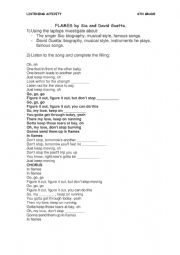 English Worksheet: Listening activity: FLAMES by Sia and David Guetta