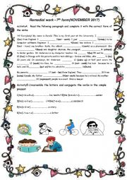 English Worksheet: remedial work for 7th formers (trimester 1) part 2