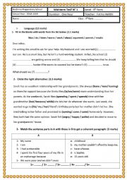 English Worksheet: Mid-term Test 1 9th grade