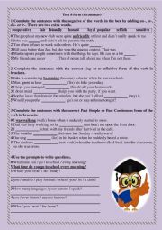 English Worksheet: Grammar Test for 8 form