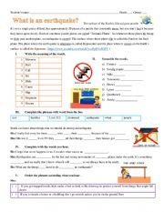 English Worksheet: what to do during an earthquake