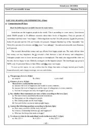 English Worksheet: A TEST ABOUT A SURVEY