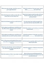 Conversation cards: ´would´, ´used to´, ´be used to´, ´get used to´.