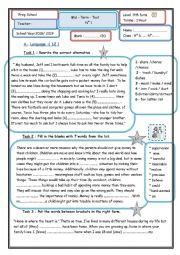 English Worksheet: 9th mid-term  test n�1 2018/2019