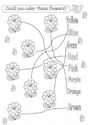 English worksheet: Could you color these flowers?