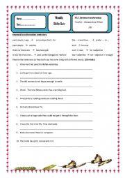 English Worksheet: Key word transformation Quiz for P.E.T writing part 1