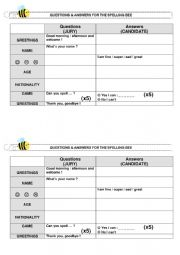 English Worksheet: Spelling Bee - Questions and answers for jury and candidate