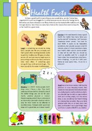English worksheet: HEALTH FACTS! the MUSTS to have a good health