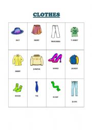 CLOTHES PICTIONARY