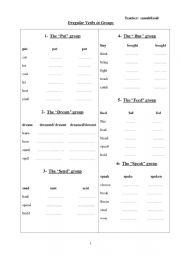 English worksheet: Irregular verbs in groups