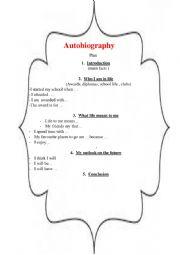 English Worksheet: Autobiography. Plan