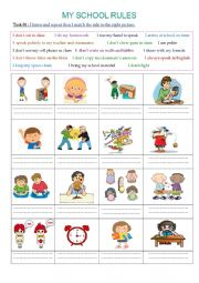 English Worksheet: My school rules