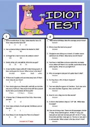 English Worksheet: BRAIN TEASER!   A STUPIDITY TEST!