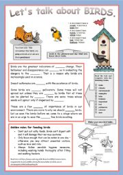 English Worksheet: Let�s talk about BIRDS ! + Key !