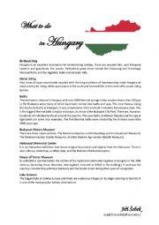English Worksheet: Hungary (history, lifestyle, places)