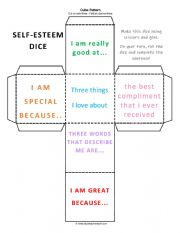 English Worksheet: Self-Esteem Dice