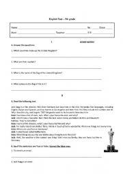 English Worksheet: Test - 7th grade: verb