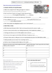 English Worksheet: Listening_Watching a video - The life cycle of a T-shirt
