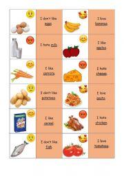 English Worksheet: Memory game food likes and dislikes