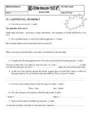MID TERM 1 TEST 2nd FORM TUNISIAN PROGRAM