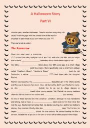 English Worksheet: A Story for Halloween - Part VI