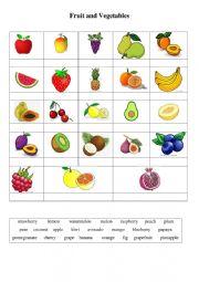 English Worksheet: Fruit