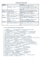 English Worksheet: Linkers and