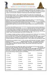 English Worksheet: The Empire State - FCE reading and gorilla debate