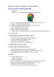 English Worksheet: TED video worksheet: Reading minds through body language/ by Lynne Franklin