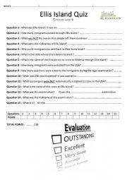 English Worksheet: Group work_Ellis Island