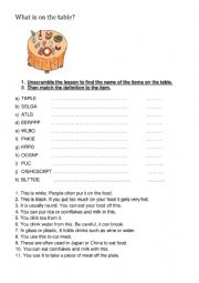 English Worksheet: Items on the dinner table