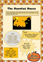English Worksheet: Guided Writing: Scary Halloween Story