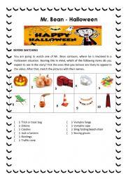 English Worksheet: Video Activity - Mr. Bean - Halloween