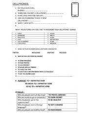 English Worksheet: Cellphones PURPOSE