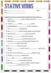 English Worksheet: test : stative verbs
