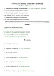 English Worksheet: Shifting the Stress and Cleft-Sentences