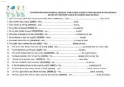 English Worksheet: transformation page 1