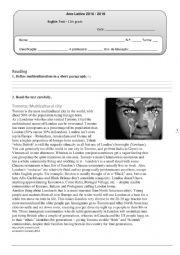 English Worksheet: english test 11th grade